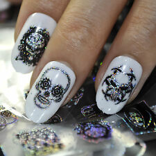 Punk Style Nail Art Foil Black Zombie Pirates DIY Nail Design King Skull 679