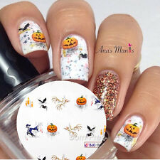 1Sheet Skull Halloween Theme Nail Art Water Decals Sticker Witch Claw Pattern