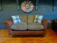 Lawrence Rustic Tan leather fabric sofa 2 seater standard back NEW Spurling