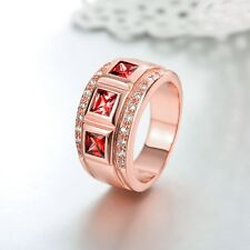 18K Rose Gold GP Ruby Red Swarovski Crystal Solid Wedding Engagement Band Ring