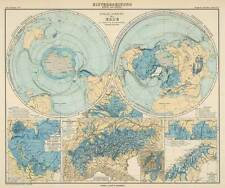 POLAR REGIONS, Vintage World Map Reproduction Rolled CANVAS PRINT 28x24 in.