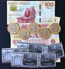 MEXICO 2017 Constitution centy. COIN, BANKNOTE & POSTAL STAMP new BU condition