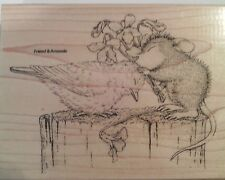 "NEW! HOUSE MOUSE Stampendous ""Birdie Kiss"" Wood Mounted Rubber Stamp"