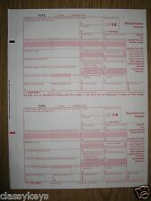 2014 IRS Tax Form 1099-MISC single sheet set for 2 recipients, carbonless 5-part