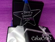 Engraved Personalised Fathers Day Acrylic Dad Grandad star,keepsake gift in box