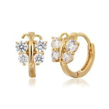Kids Girl 18K Yellow Gold GF Butterfly Claw Sparkle CZ Huggie Hoop Earrings 1cm