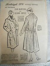 1865(373) ANCIEN PATRON MADRIGAL MANTEAU A MARTINGALE  TAILLE 44  1956