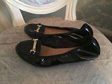 New Look Negro Plano Patente con función de Oro Zapatos Talla 5 en muy buena condición