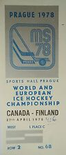 TICKET Eishockey WM 27.4.1978 Canada - Finnland in Prag