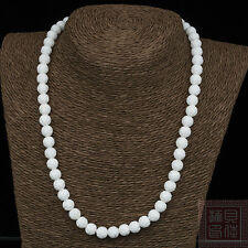 10mm White Carving Coral Loose Bead Gems knotted necklace 20''