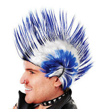 Blue & White Mohican Wig Scotland Punk Rocker Chelsea Cardiff Fancy Dress