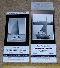 Vntg DYER (DYERESIN) DHOW + MIDGET Sailboat Dinghy Dealer Sales Brochures (2)