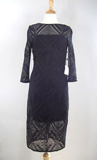 Adrianna Papell Black Lace Crochet Accent Cocktail Dress Sz. 10