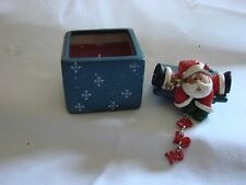 CL17  Santa on Box Lid Christmas Holiday Candle - Ceramic