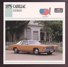 1975 Cadillac Eldorado Hardtop Coupe Car Photo Spec Sheet Info Stat ATLAS CARD