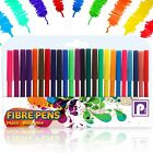 24 Pack FIBRE FELT TIP COLOURING BRUSH PENS Drawing Markers Painting Art School