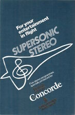 BRITISH AIRWAYS SINGAPORE AIRLINES CONCORDE SUPERSONIC STEREO GUIDE 1979 SQ BA