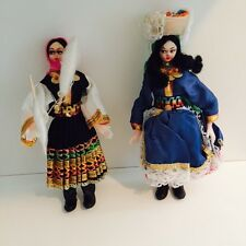 2 Vintage Dolls International Ethnic Folk Greek Gypsy Spinner Doll