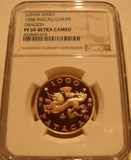Macau 1988 Gold 1000 Patacas NGC PF-69UC Year of The Dragon