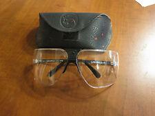 Vintage Gargoyles safety Glasses Clear Lens 85s Black Frame w/Leather Case