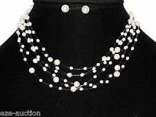 Elegant 6 Tier Beautiful Ivory Pearl Necklace & Earring Set For Prom Party