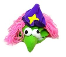 Small Dog Pooch Adjustable Wizard Witch Purple Hat Yellow Star Pink Hair Used