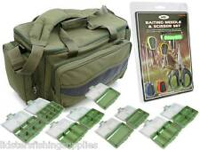 Green Carp Fishing Tackle Bag Holdall Baiting Needles scissors 9 Tackle Boxes