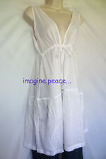 oh my CAPELLI white COTTON GAUZE tiered EMPIRE Beach TUNIC Sheer TOP XL NWT