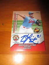 BRENNAN LEITAO Signed 2016 Midwest League MWL All Star card AUTO Autograph