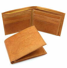 Bifold Genuine Leather Beige Wallet Truck Embossed Design with a Zippers