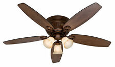 "Hunter 52"" Bronze Flush Mount Hugger Pull Chain Light Ceiling Fan HR 28735"