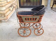"ANTIQUE DOLL CARRIAGE VINTAGE STROLLER BABY BUGGY.20"" HIGH"