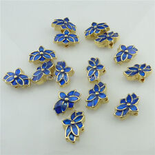18543 2pcs Golden Enamel Blue Lotus Mini Cloisonne Spacer Beads Loose