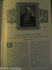 Lord Hawke at Home Yorkshire County Cricket Rare Antique Victorian Article 1898