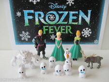 DISNEY FROZEN FEVER Movie 12 PC Deluxe Figure Set Playset Elsa Anna Snowgies