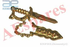 SWORD SHAPE BRASS UNCUT BLANK KEY + COVER FOR ROYAL ENFIELD MOTORCYCLE @AUD