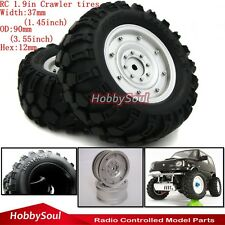 """New 4PCS RC 90mm Tires Tyres W/ 1.9"""" Wheel Rims For Crawler Truck Upgrader Parts"""