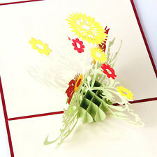 3D Pop Up Sunflower Greeting Cards  Wedding Birthday Mother Day Thank You Cards