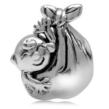 925 Sterling Silver New Born Baby Delivery in a Cloth Bundle European Charm Bead