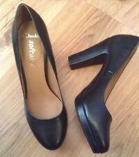 "New ��Clarks ��Size 8 Abby Black Platform Leather Shoes (42 EU)Work 3,8""Heel"