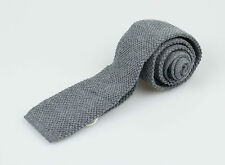 New. BRUNELLO CUCINELLI Men's Gray 100% Cotton Knitted Sock Tie $265