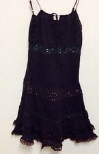 UK Size 8 Thin Strap Brown Lace Layered Sequin Summer Day Dress- NEW WITHOUT TAG