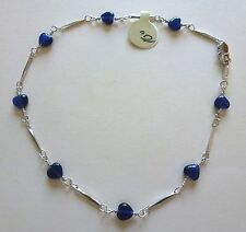 "Anklet - Rhodium plated- blue heart beads -silver color-10"" beautiful"