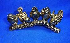 Vintage German Chrome & Metal 5 Sparrows on a Bench Figure #N
