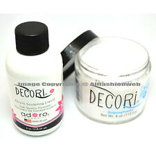 Adoro DECORI 4oz LIQUID MONOMER + 4oz CLEAR ACRYLIC POWDER SET NAIL ART SYSTEM