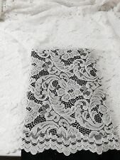 "WHITE CORDED EMBROIDERY BEIDAL LACE FABRIC 50"" WiIDE 2 YARD"