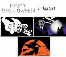 3x5 Happy Halloween 3 Flag Wholesale Set #7 3'x5' House Banner Grommets