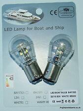 2 X 12-24 volt LED Bulb Lamp Marine Ships Boat Navigation BAY15D Bayonet