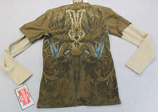 MMA ELITE UFC Men BROWN WINGED SWORD LS THERMAL SHIRT +Matching BEANIE HAT NWT S