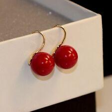 Boucles d`Oreilles Doré Plaqué Or 18K Perle Rouge 12mm Class Mariage BB15